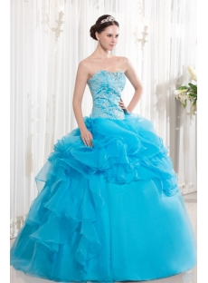 Teal Blue Pretty Embroidery Ruffle Ball Gown for Quinceanera