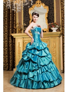 Teal Blue Pretty Quinceanera Gown with Puffy