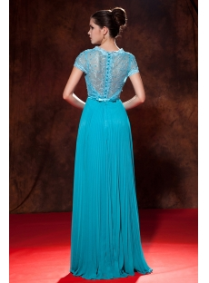 Teal Blue Red Carpet Celebrity Dresses with Cap Sleeves:1st-dress.com
