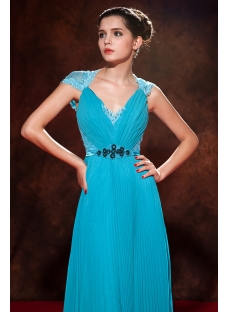 Teal Blue Red Carpet Celebrity Dresses with Cap Sleeves