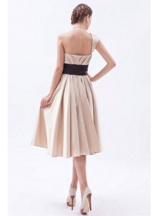 Timeless Champagne Knee Length Bridesmaid Dress with One Shoulder