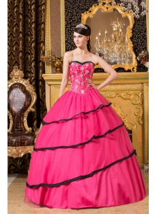 Traditional Hot Pink and Black Colorful Debutante Dresses