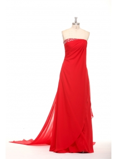 Traditional Red Chiffon Long Prom Dresses for Full Figured