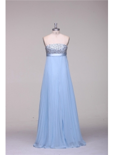 Turquoise Blue Long Pregnant Cheap Evening Dress