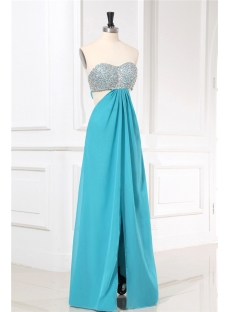 Turquoise Blue Open Back Sexy Evening Dress