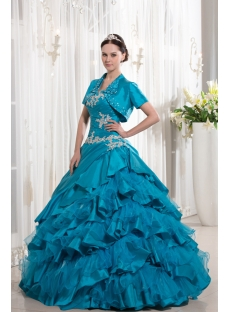 Turquoise Blue Ruffle 2014 Ball Gown Quince Dress with Jacket