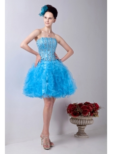 Turquoise Gorgeous Short Quinceanera Dress with Ruffle