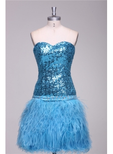 Turquoise Ostrich Feather and Sequins Plus Size Cocktail Dress