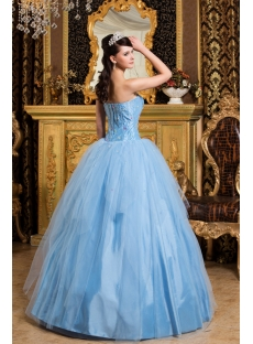 Turquoise Puffy Romantic Princess Quince Ball Gown Dress