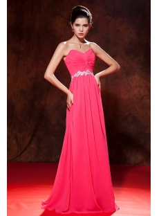 Water Melon Long Sweetheart Chiffon Plus Size Ball Gown Dress