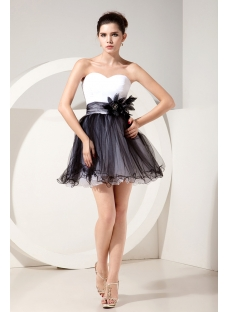 White and Black Cute Cocktail Dress