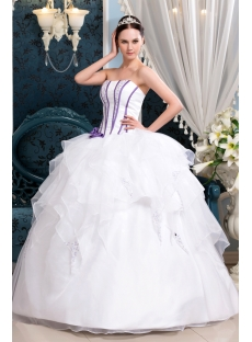 White and Purple Cinderella Quinceanera Dress