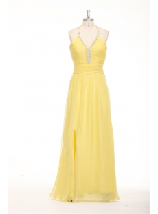 Yellow Beaded Halter Long Plus Size Club Dress