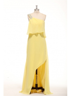 Yellow Chiffon One Shoulder Plus Size Sexy Formal Evening Dresses