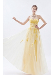 Yellow Graceful Colorful Quince Gown Dress with Lace up Back