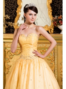 Yellow Modest 2011 Ball Gown Quinceanera Gown