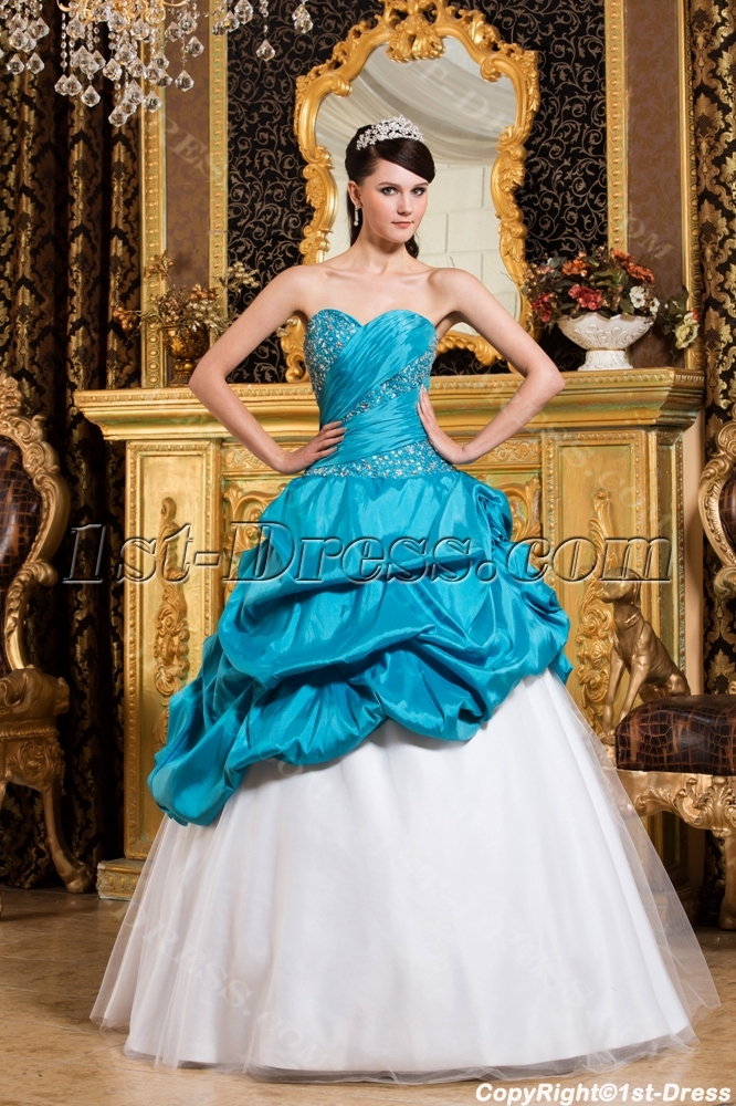 Aqua Blue Cute Quinceanera Dresses With Sweetheart 1st
