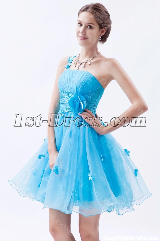Aqua One Shoulder Short Mini Organza Cocktail Dress With