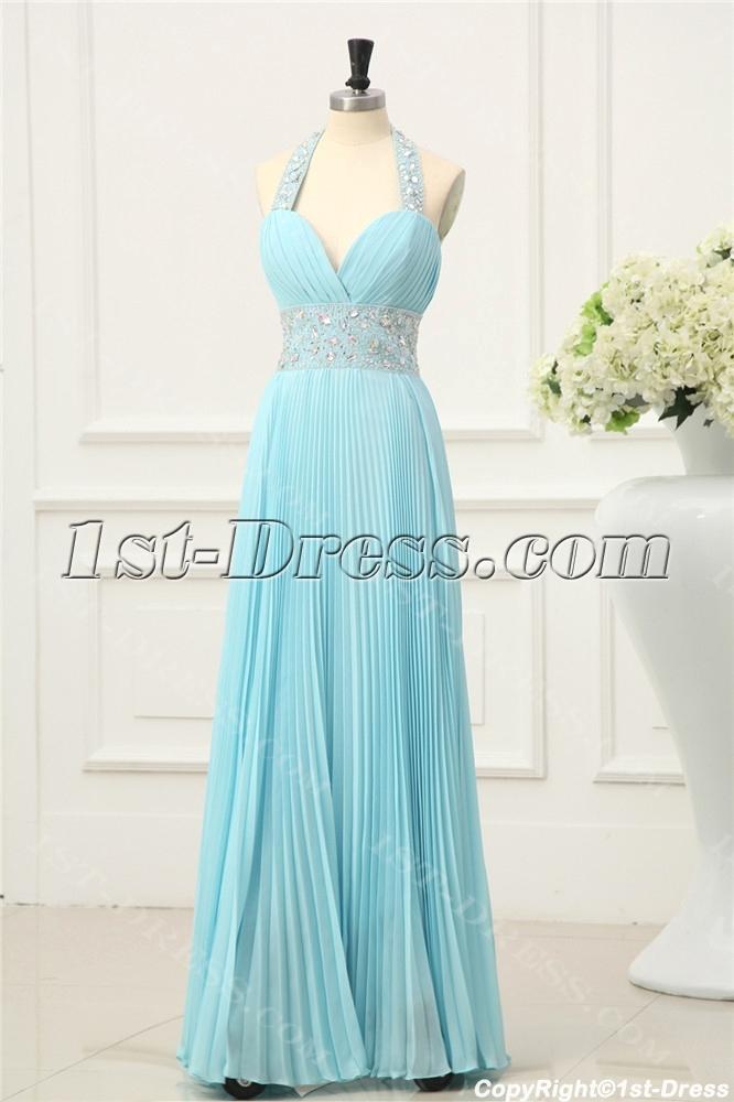 aqua pleats elegant halter prom dresses 20141stdresscom
