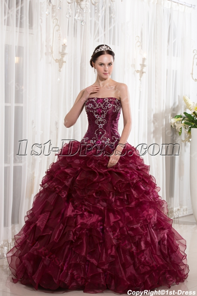 944aee792b2 Beaded Burgundy Puffy Quinceanera Dresses 2014 (Free Shipping)
