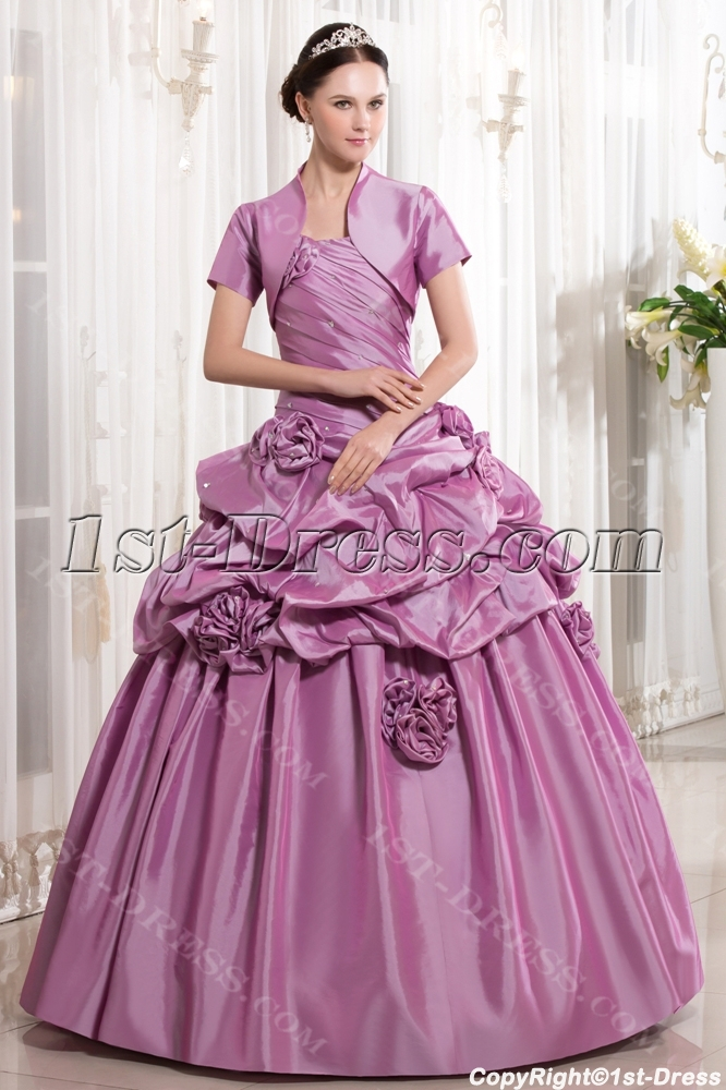 Beautiful Lilac Cute Quinceanera Gown with Short Jacket:1st-dress.com