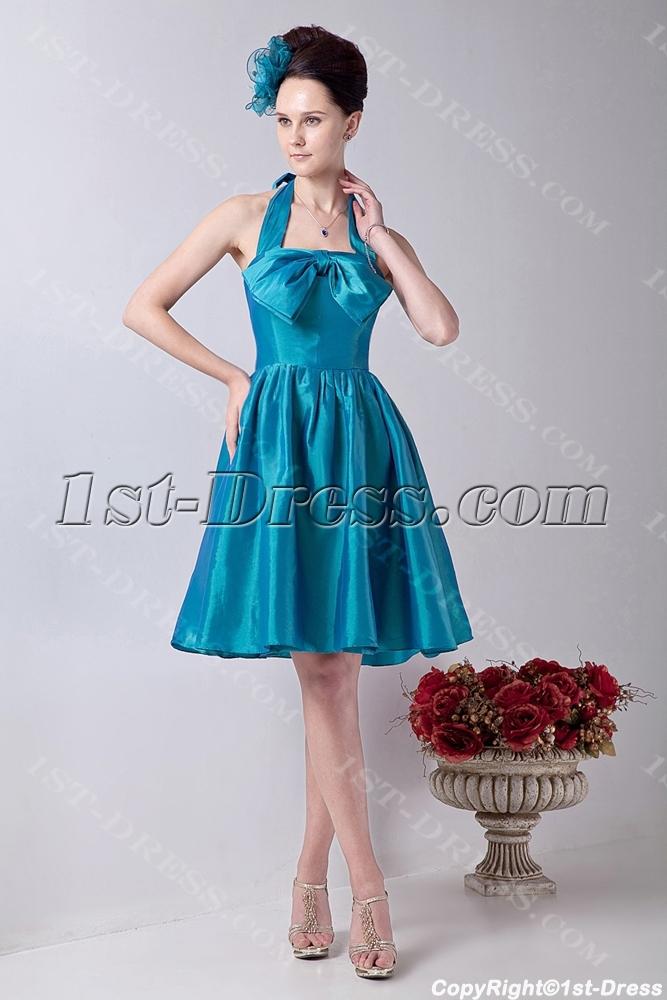 Halter Blue Simple Dama Dress