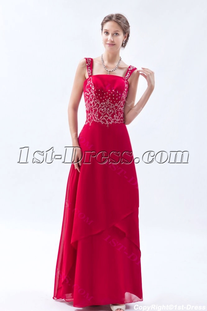 Burgundy Chiffon Long Mother of the Bride Plus Size Dresses $180.00
