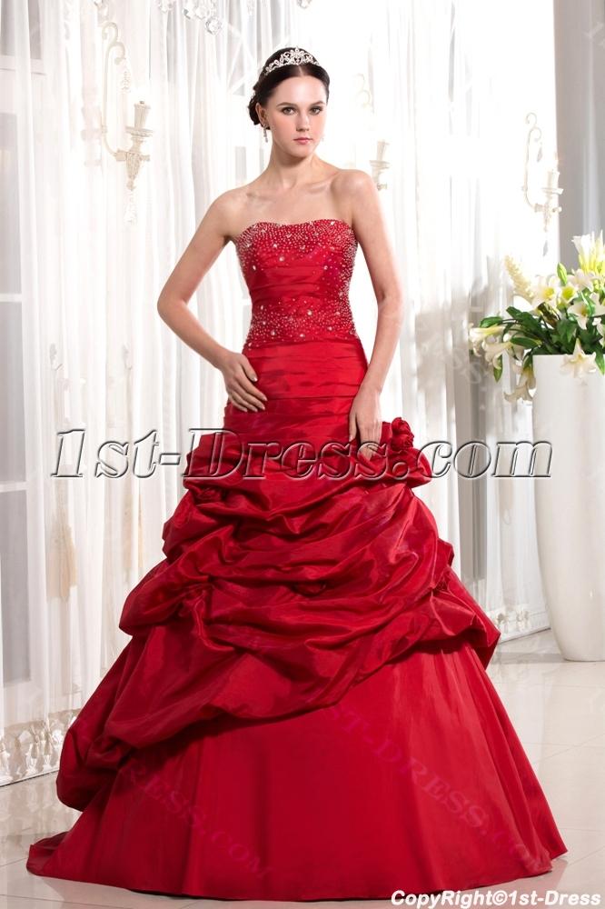 Burgundy Long Sheath Pretty Quinceanera Gown:1st-dress.com