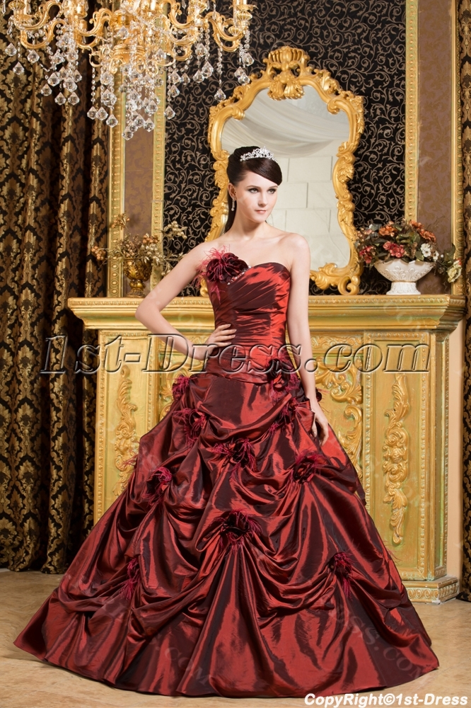 Burgundy Ostrich Feather Quinceanera Dresses 2013 :1st-dress.com