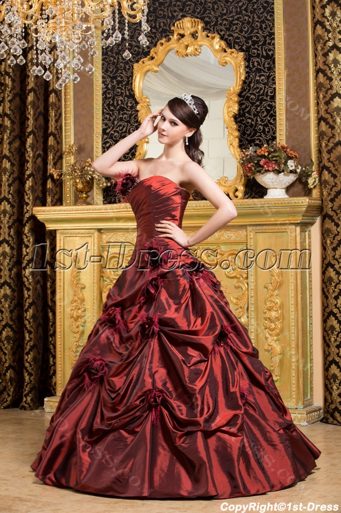 30a64af8fec Burgundy Ostrich Feather Quinceanera Dresses 2013 (Free Shipping)