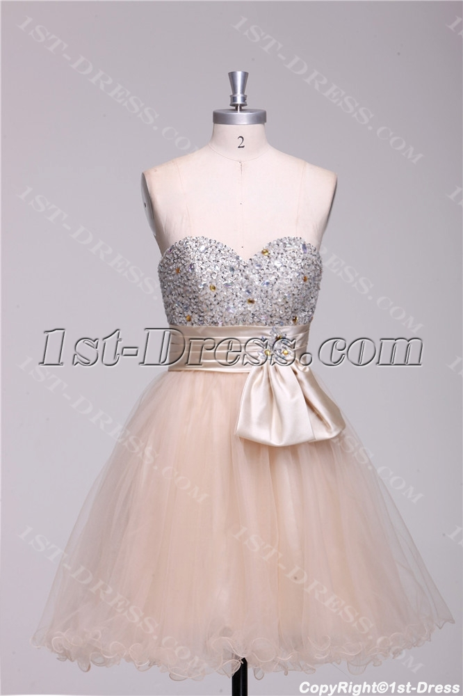 Champagne Beaded Short Quinceanera Court Dresses 3064 b 1 1380036673 - Short Wedding Gowns