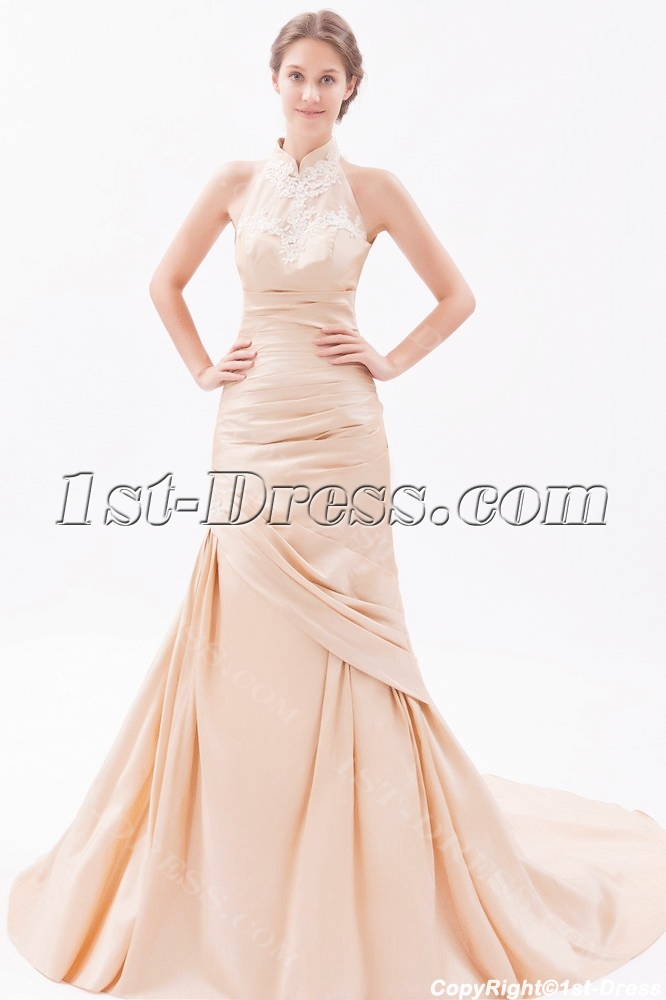 Champagne sheath high neck wedding dresses with low back for Wedding dress high neck