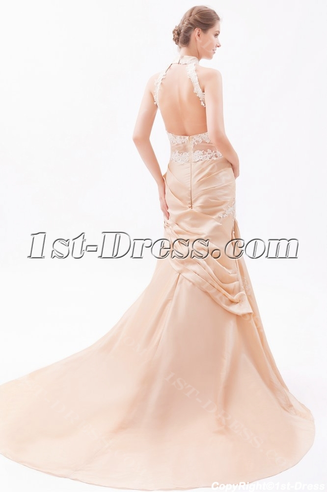 Champagne Sheath High Neck Wedding Dresses with Low Back