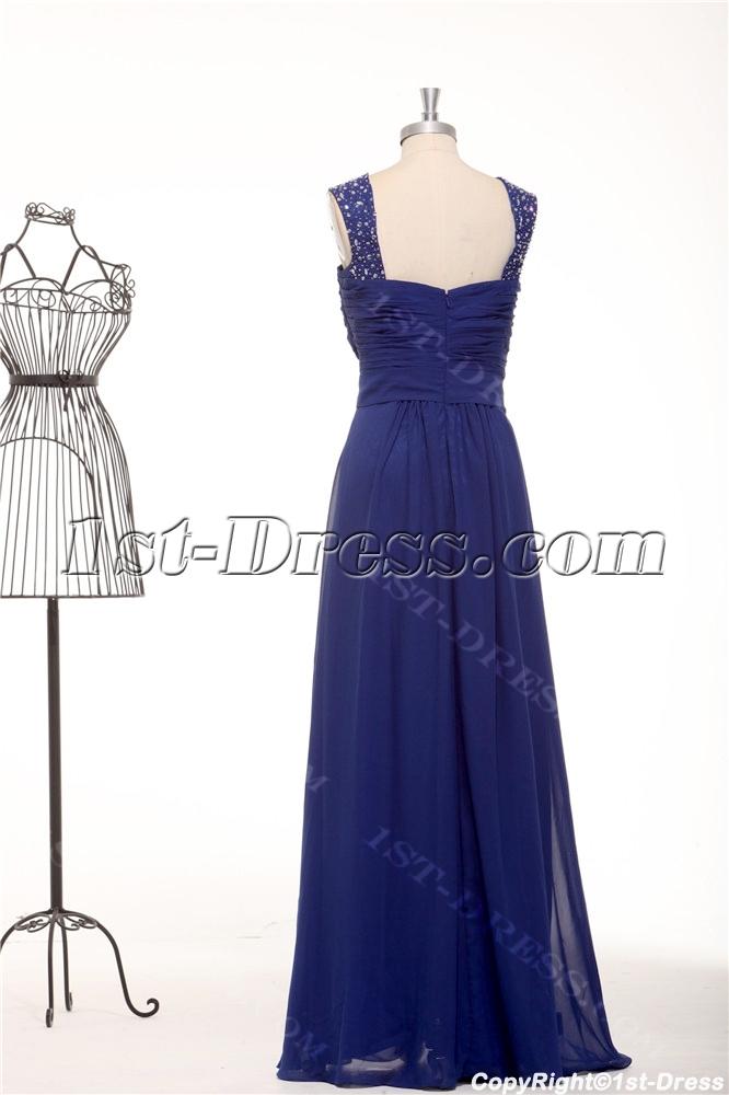 Chic Royal Blue Straps Plus Size Modest Bridesmaid Dresses1st Dress