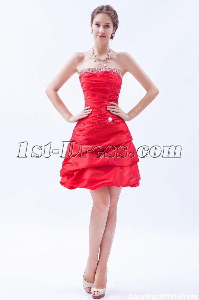 Red Taffeta Short Dama Dress