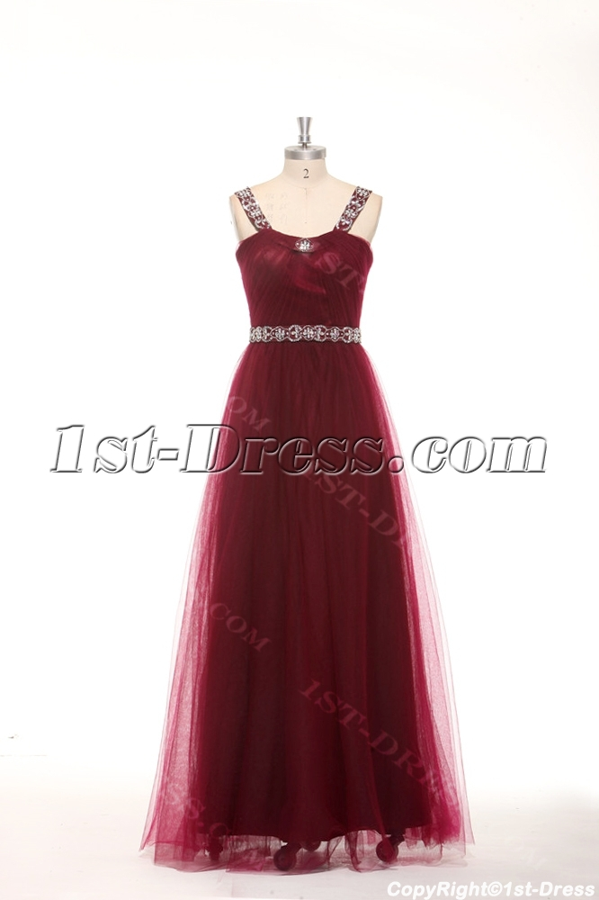 Elegant Beaded Straps Burgundy Plus Size Quinceanera