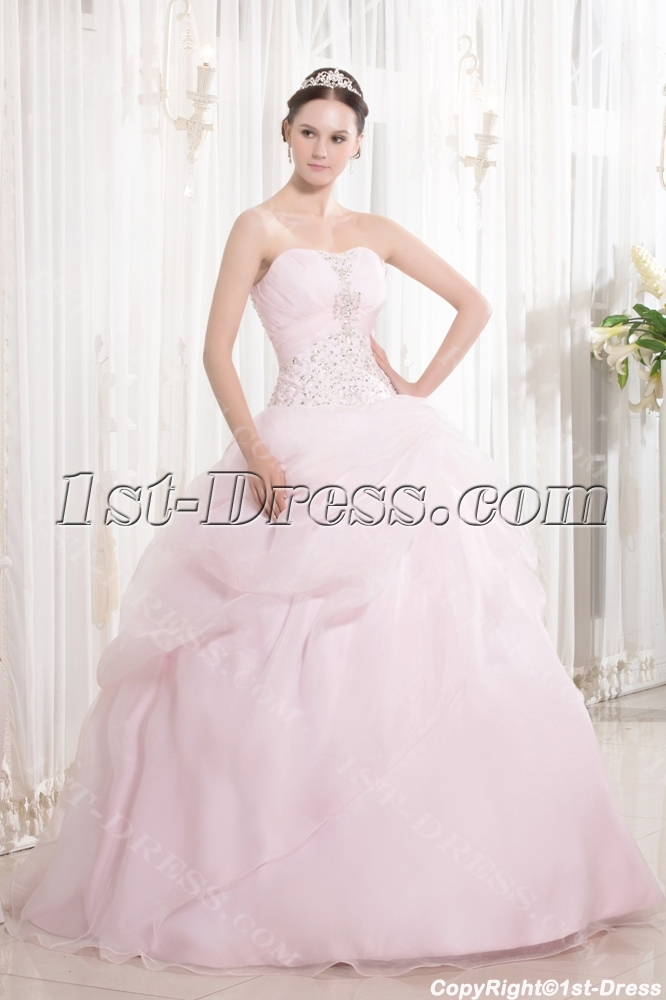 Embroidery Pearl Pink Pretty Quince Ball Gown With Sweetheart Loading Zoom