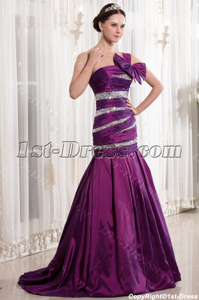 Fuchsia Mermaid Style Quinceanera Dresses with One Shoulder:1st ...