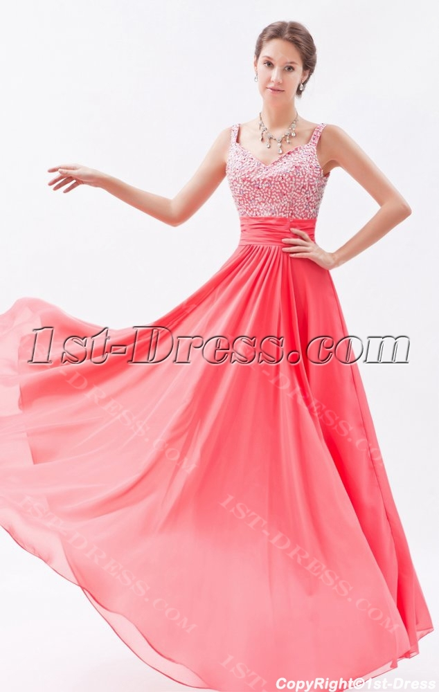 bb94d8b5acd Graceful Water Melon Chiffon Beaded Long Prom Dresses (Free Shipping)