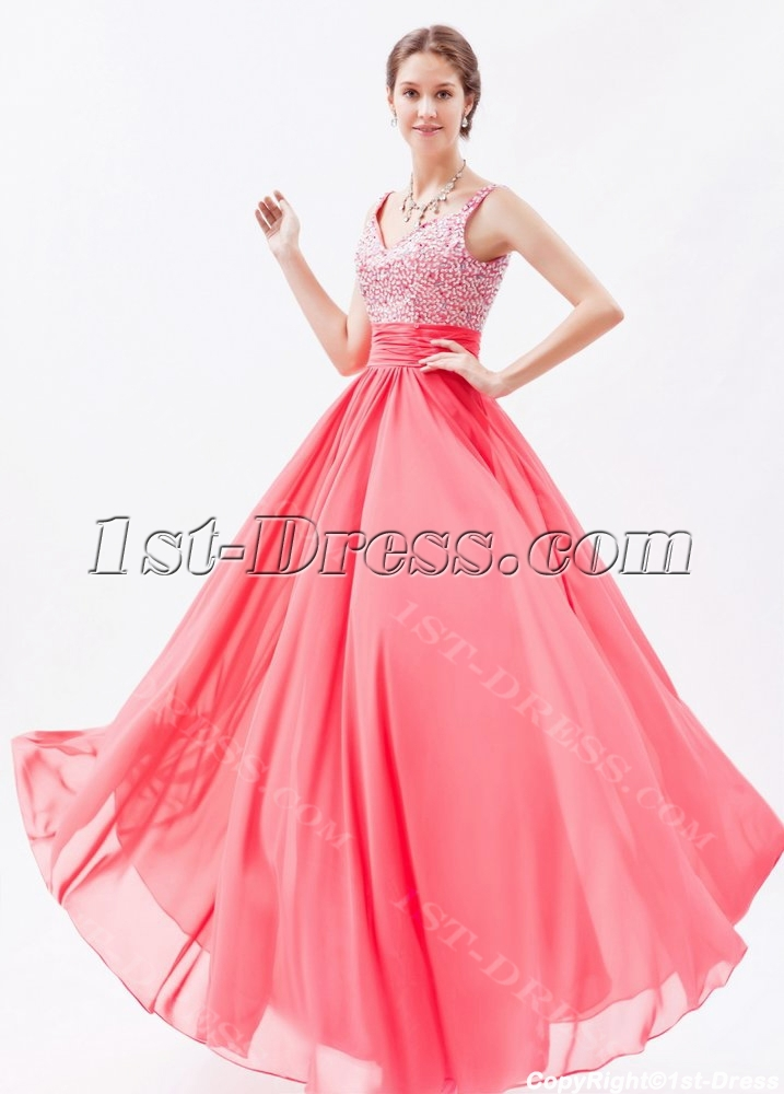 e5d64748803 prev  next. Specifications. Product Name  Graceful Water Melon Chiffon  Beaded Long Prom Dresses