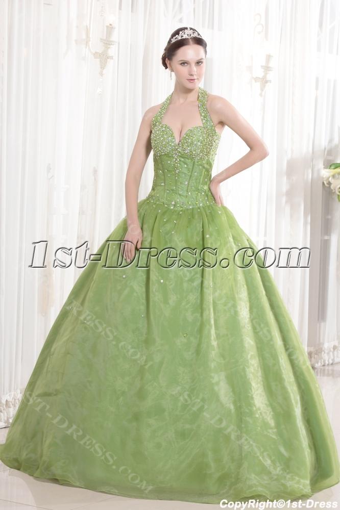 Halter Green Beaded Organza Bat Mitzvah Dresses:1st-dress.com