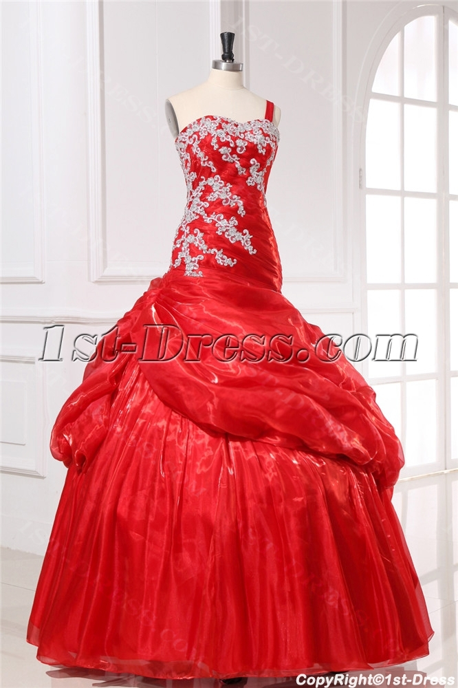 Mermaid Organza Pretty Quinceanera Dress with One Shoulder
