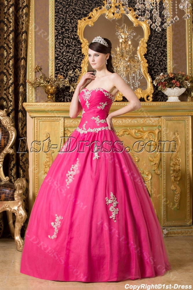 Modern Fuchsia Long Bat Mitzvah Ball Gown Dresses 1st