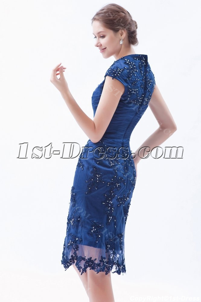 Modest Queen Anne Neckline Formal Lace Evening Dress with Cap Sleeves