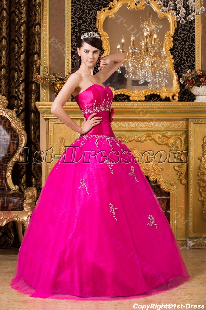 New Arrival 2014 Pretty Hot Pink Quinceanera Dresses:1st-dress.com