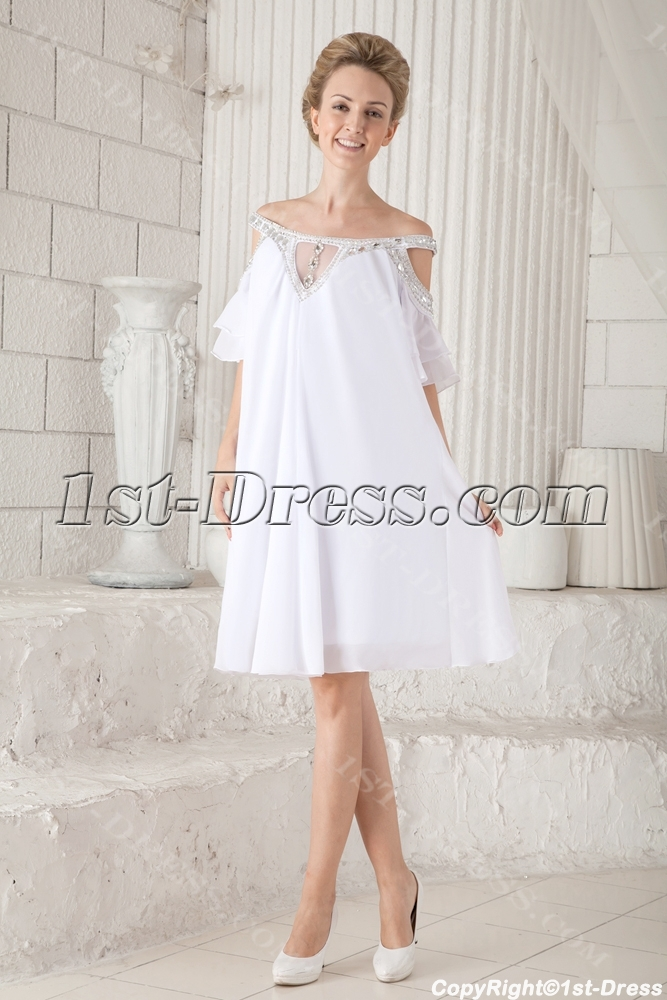 Off Shoulder Casual Short Bridal Gowns for Summer:1st-dress.com