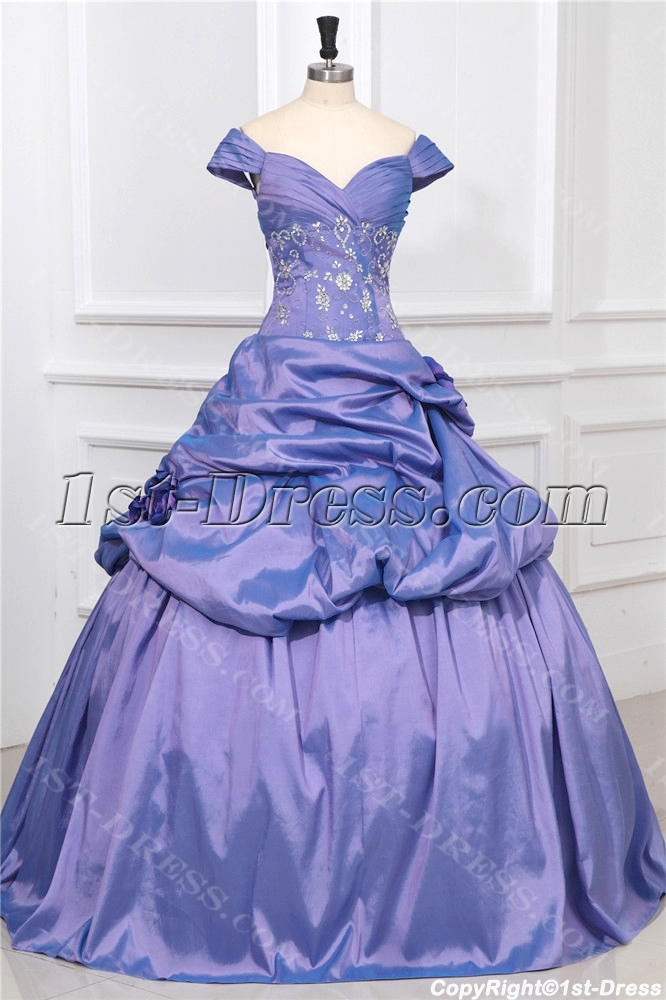 Off Shoulder Periwinkle Princess Quinceanera Ball Gown:1st-dress.com