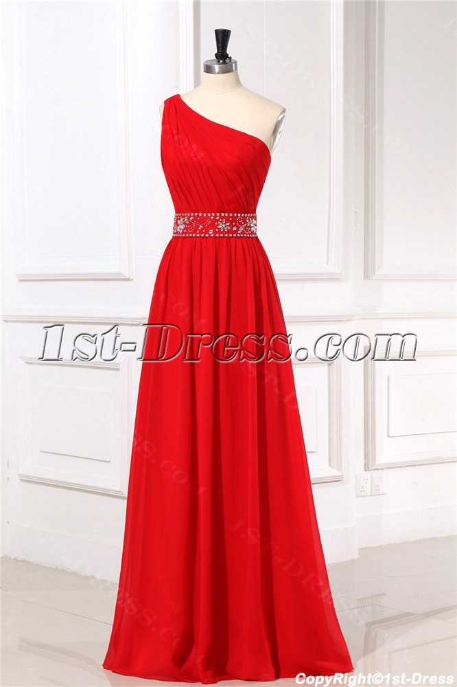 One Shoulder Red Formal Evening Dresses For Petite Women1st Dress