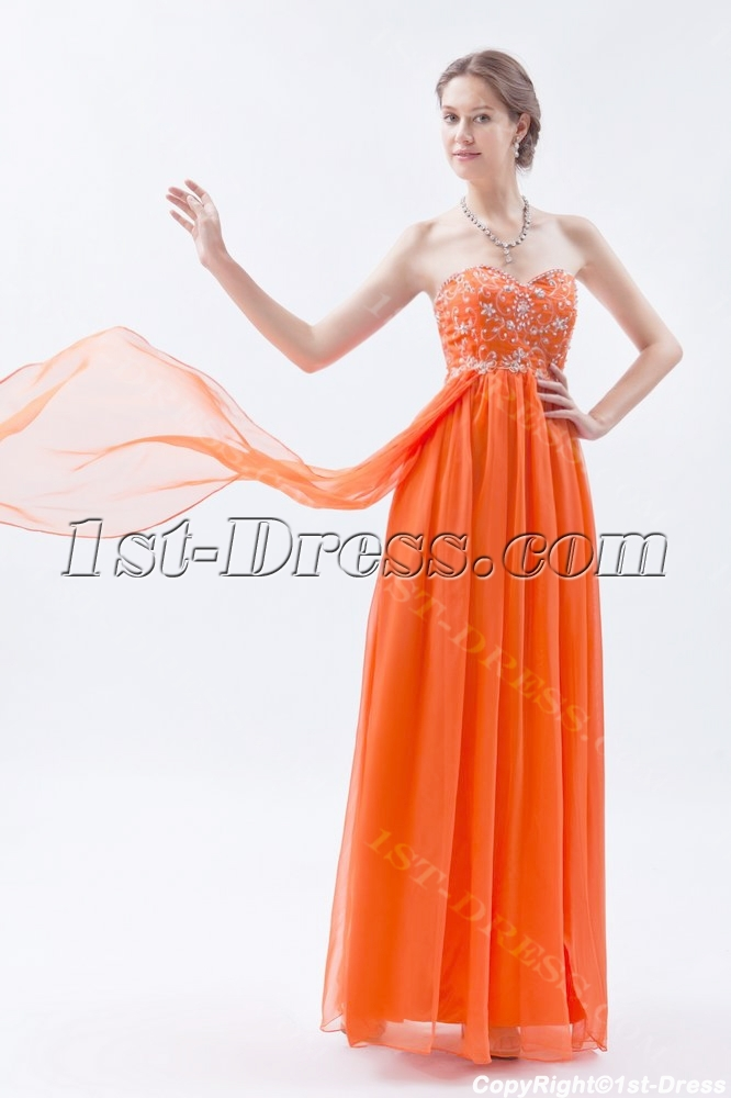 Orange Empire Long Ball Gown for Plus Size with Embroidery:1st-dress.com
