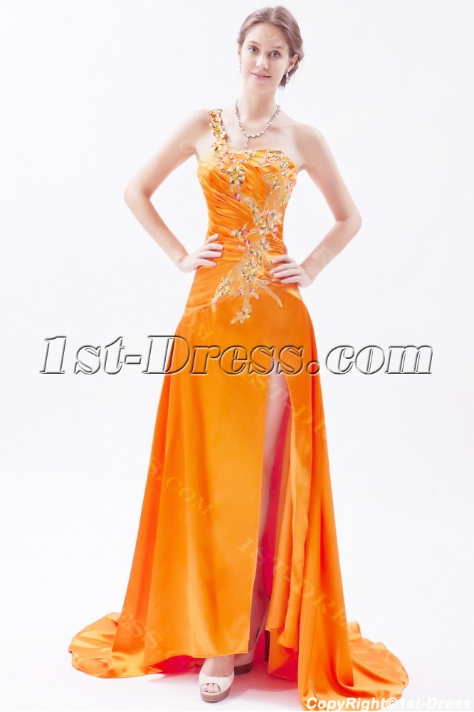 Orange One Shoulder Slit Celebrity Dress with Train